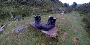 Image of the author's Raichle MT Trail GTX boots perched on a flat rock just before another long day in the Brecon Beacons.