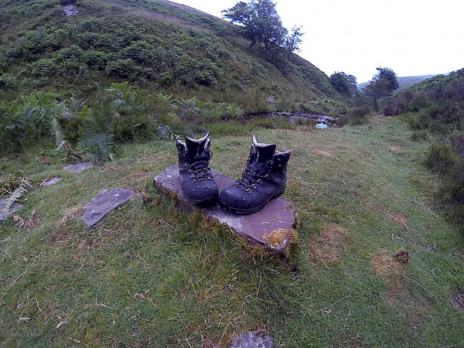 The Raichle MT Trail GTX boots relaxing after a long day in the Brecon Beacons.