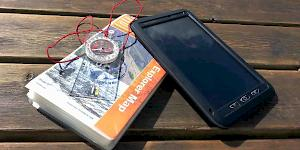 Picture showing an OS Explorer active map for the Lake District with a Silva Explorer 4 Compass and a tablet in its rugged case.