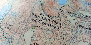 Close up of the beautifully crafted OS Explorer map covering The Old Man of Coniston.