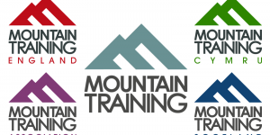 A collage depicting the Main Logos of the Mountain Training Home Boards and the Mountain Training Association. Mountain Training UK are missing as I couldn