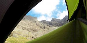 Picture taken out of the inside of a green and black tent of Sgurr Alasdair in the Cuillin Hills on the Isle of Skye.