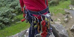 The DMM Super Couloir mountaineering harness racked for a hard scramble.