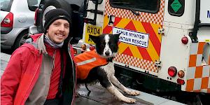 Picture showing the author with Ben, the young border collie back at base after a successful afternoon of hide and seek.