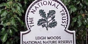Picture showing the familiar national trust plaque for Leigh Woods National Nature Reserve.